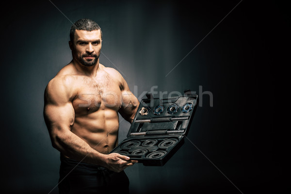 shirtless man with sports equipment Stock photo © LightFieldStudios