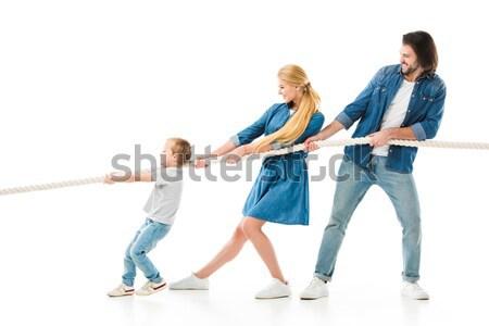 daughter skateboarding on longboard Stock photo © LightFieldStudios