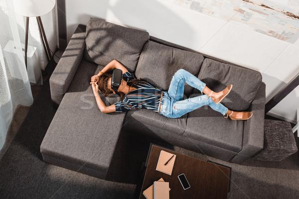 woman in vr headset Stock photo © LightFieldStudios
