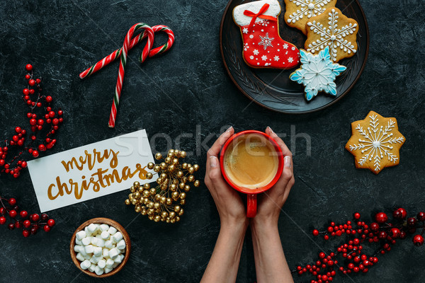 Foto stock: Navidad · café · vista · femenino · manos · alegre