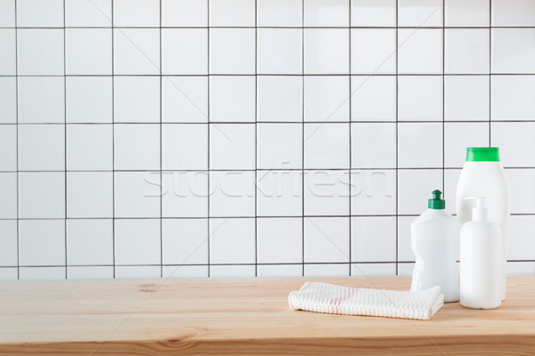 Stock photo: cleaning products on tabletop