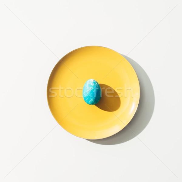 Felső kilátás rongyos kék húsvéti tojás citromsárga Stock fotó © LightFieldStudios