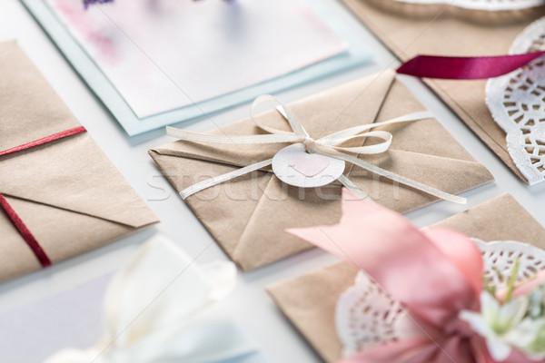 Toplama yalıtılmış beyaz düğün davetiyesi Stok fotoğraf © LightFieldStudios