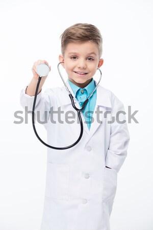 Jongen arts kostuum aanbiddelijk weinig witte Stockfoto © LightFieldStudios