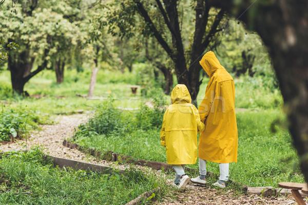 Család vidék hátulnézet anya lánygyermek citromsárga Stock fotó © LightFieldStudios