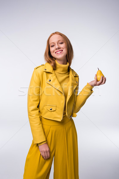 Meisje Geel kleding peer mooie modieus Stockfoto © LightFieldStudios
