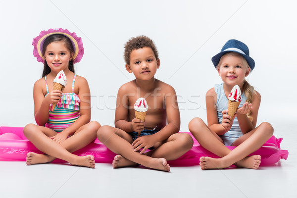 multiethnic kids eating ice cream  Stock photo © LightFieldStudios