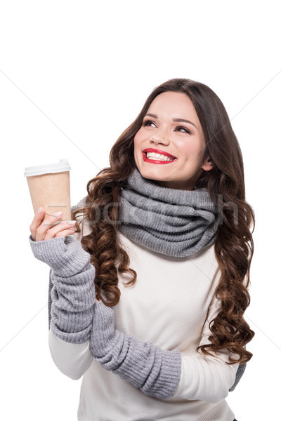 Stock photo: Cheerful woman holding paper cup
