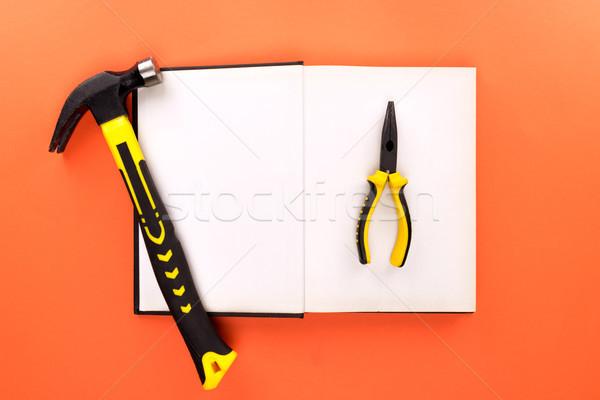 Nyitott könyv szerszámok felső kilátás lövés oldalak Stock fotó © LightFieldStudios
