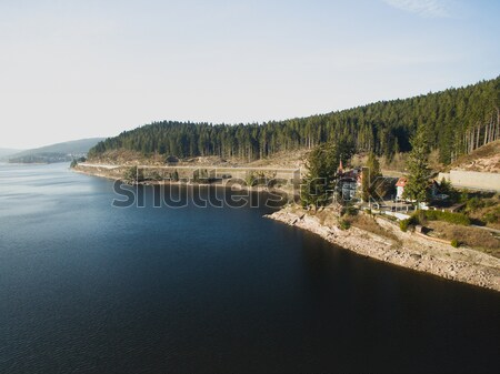 Aerial view of majestic landscape with river and house on  bank, Germany Stock photo © LightFieldStudios