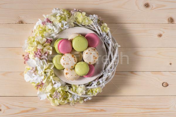 Macarons fiori top view piatto Foto d'archivio © LightFieldStudios