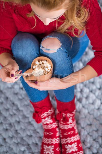 Lány iszik forró csokoládé kilátás haj ital Stock fotó © LightFieldStudios