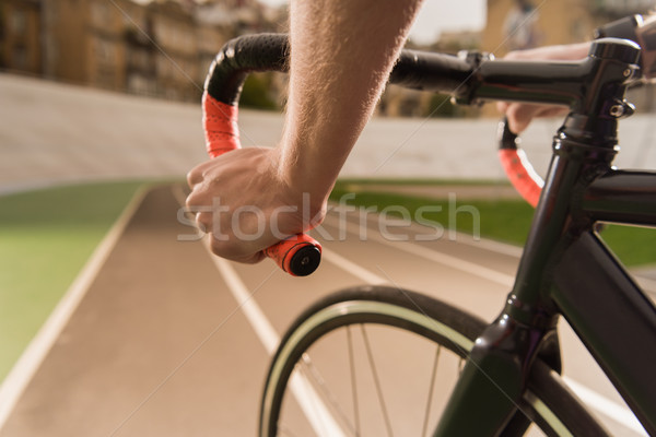 Bisikletçi binicilik bisiklet yarış görmek devir Stok fotoğraf © LightFieldStudios