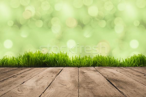 Fából készült deszkák full frame fény háttér asztal Stock fotó © LightFieldStudios