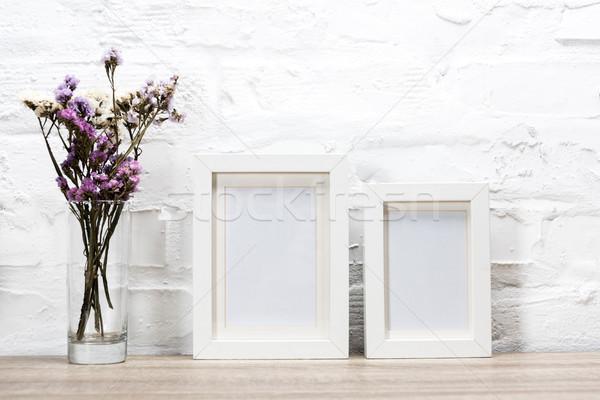 Stock fotó: Fotó · keret · virágok · váza · közelkép · kilátás