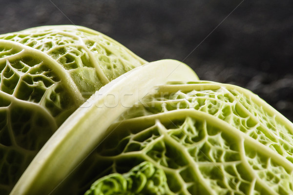close-up view of fresh healthy savoy cabbage on black Stock photo © LightFieldStudios