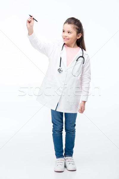 Stockfoto: Meisje · arts · kostuum · glimlachend · meisje · medische