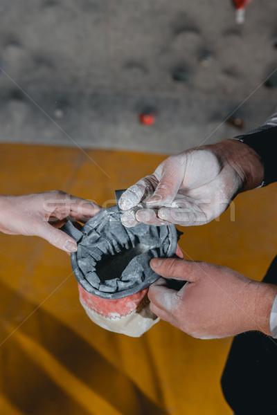 Człowiek proszek ręce shot Zdjęcia stock © LightFieldStudios