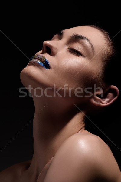beautiful woman with glitter lips Stock photo © LightFieldStudios