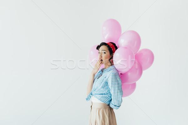 ストックフォト: アジア · 女性 · 風船 · 側面図