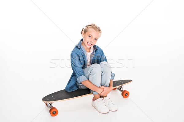 little skateboarder on longboard Stock photo © LightFieldStudios