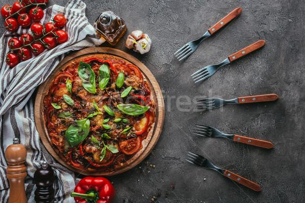 Top мнение пиццы конкретные таблице Сток-фото © LightFieldStudios