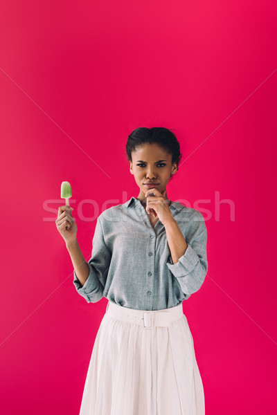 african american woman with popsicle Stock photo © LightFieldStudios
