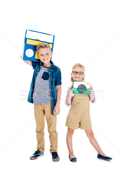 kids with camera and tape recorder Stock photo © LightFieldStudios