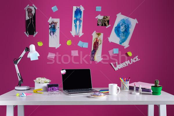 Divat designer munkahely laptop asztal üzlet Stock fotó © LightFieldStudios