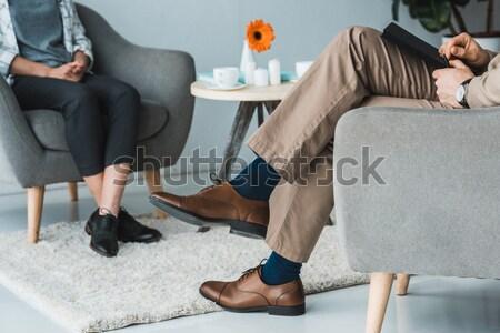 Pár flörtöl iroda fiatal nő fekete ruha dől Stock fotó © LightFieldStudios