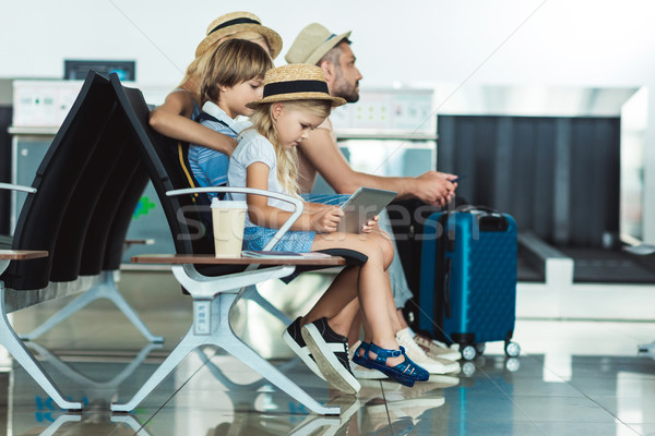 kid with tablet at airport Stock photo © LightFieldStudios