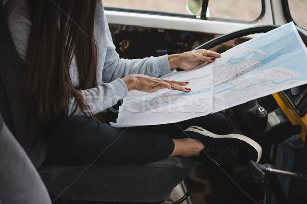 girl with map in minivan Stock photo © LightFieldStudios
