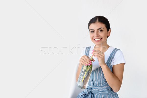 Nő detoxikáló ital portré mosolygó nő kezek Stock fotó © LightFieldStudios