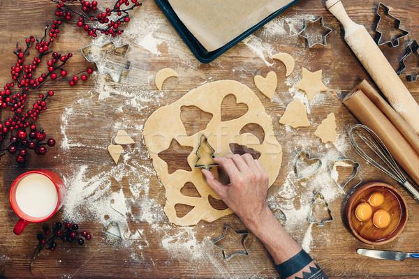 Stok fotoğraf: Noel · kurabiye · atış · kişi · ahşap · masa · el