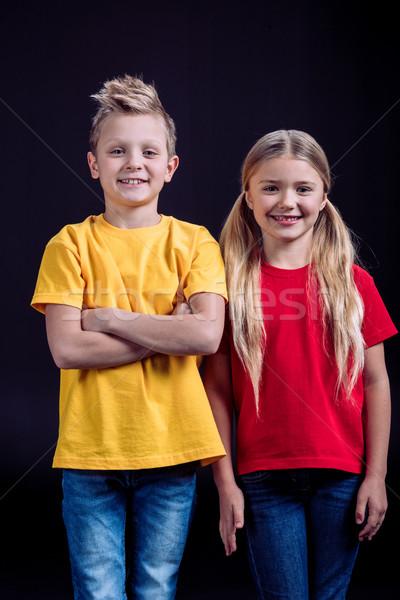 Souriant frère soeur portrait regarder caméra Photo stock © LightFieldStudios