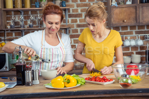 Mother and daughter cooking together Stock photo © LightFieldStudios