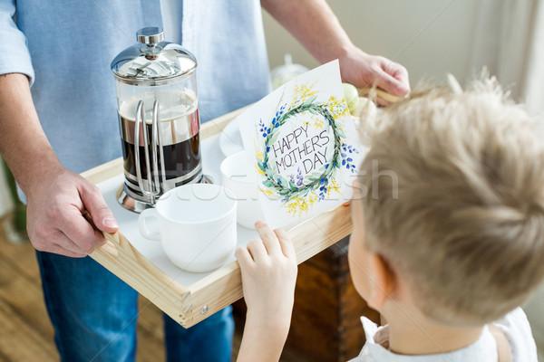 Syn ojca taca karty widoku kawy Zdjęcia stock © LightFieldStudios
