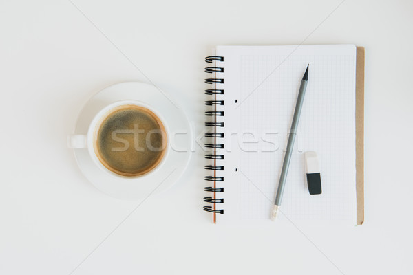 Top view notebook matita gomma Cup Foto d'archivio © LightFieldStudios
