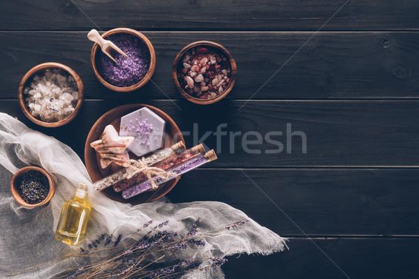 Terapi plakalar lavanta lavanta yağı arka plan mum Stok fotoğraf © LightFieldStudios
