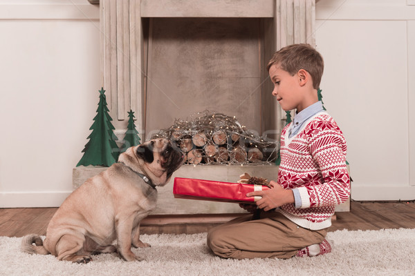 boy presenting gift to dog Stock photo © LightFieldStudios