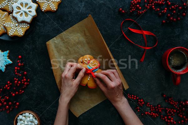 festive gingerbread cookies Stock photo © LightFieldStudios