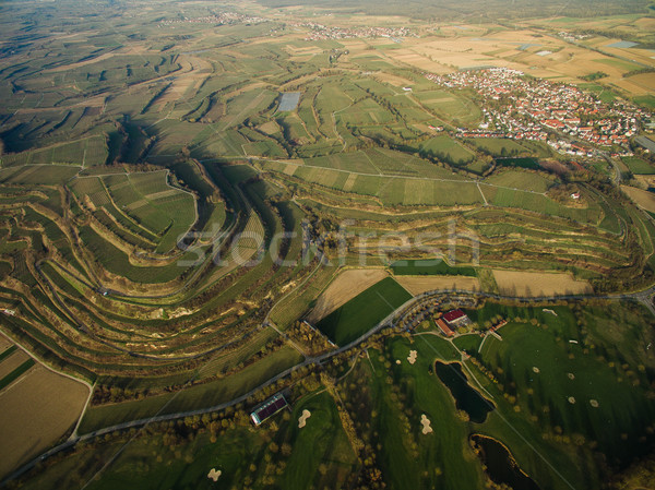 Aerial view of majestic landmark with green fields on tiers, Germany Stock photo © LightFieldStudios