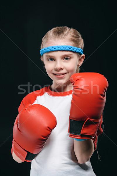 Menina luvas de boxe isolado preto ativo crianças Foto stock © LightFieldStudios