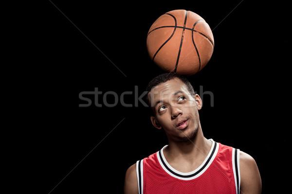 Foto stock: Africano · americano · posando · equilíbrio · bola · cabeça