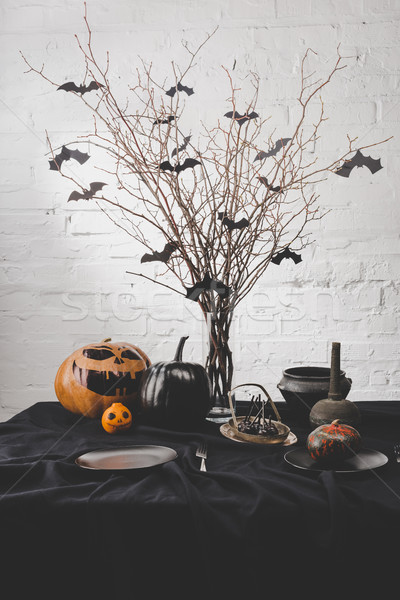 Halloween decoraties pompoenen drogen geserveerd Stockfoto © LightFieldStudios