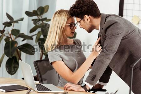 Man zoenen vrouw nek jonge man pak Stockfoto © LightFieldStudios