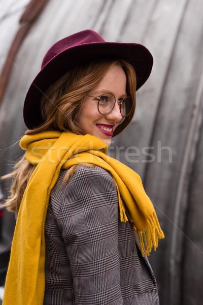 Kız fötr şapka şapka güzel şık Stok fotoğraf © LightFieldStudios