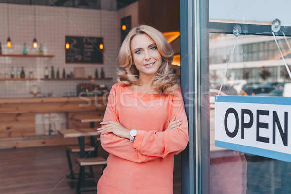 cafe owner with sign open  Stock photo © LightFieldStudios