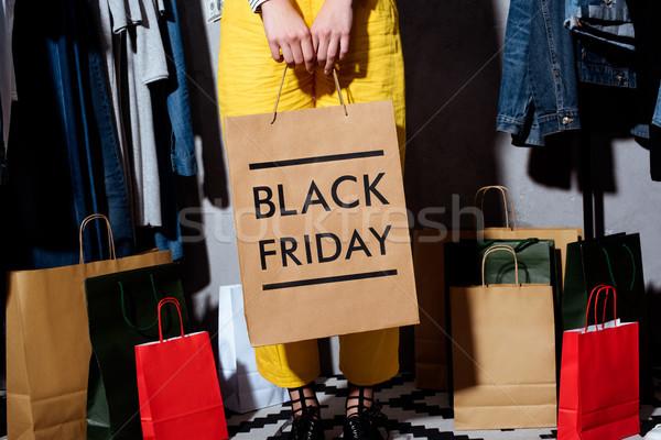 Black friday düşük bölüm kız elbise Stok fotoğraf © LightFieldStudios