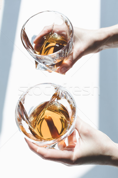 Foto stock: Persona · gafas · whisky · primer · plano · vista